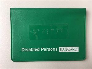 Railcard holder with braille label