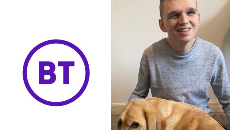 Callum Stoneman with his guide dog. To the right of him is the BT logo