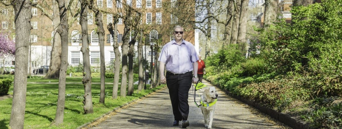 Photo of man out walking with guide dog.