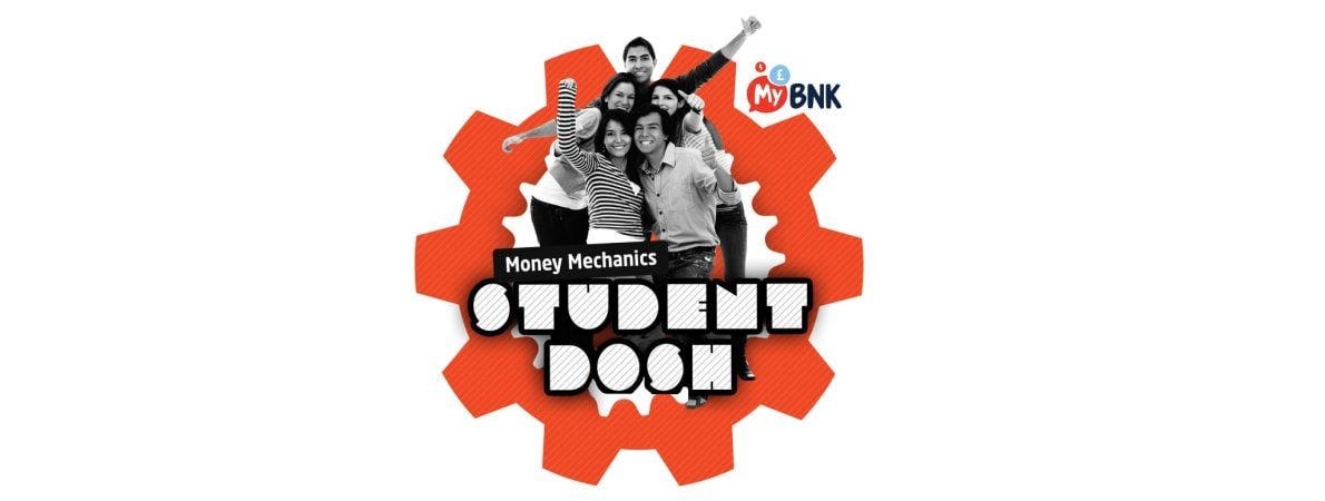 Student Dosh andMy Bnk logo - young people smiling within a cog