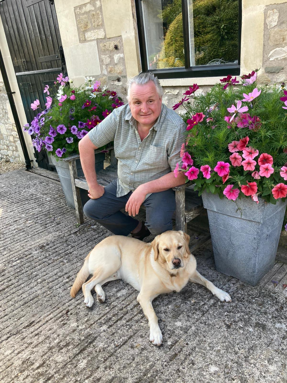 Alun with his guide dog