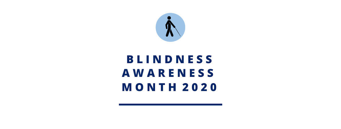 Logo for Blindness Awareness Month with icon in a blue circle of a man with a cane