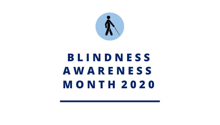 Blindness Awareness Month logo with a man with an icon of a man with a cane in a blue circle.