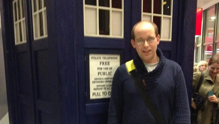 Daniel Dracott stood in front of the Doctor Who Tardis