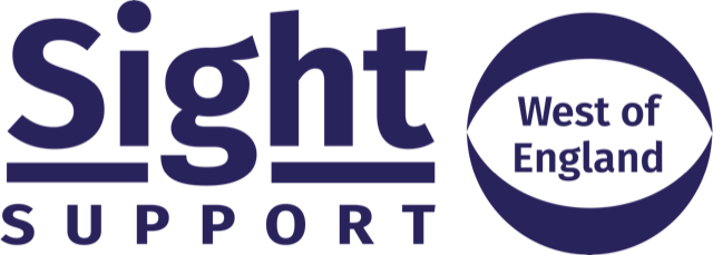 Sight Support West of England logo in blue font with eye outline graphic around West of England.