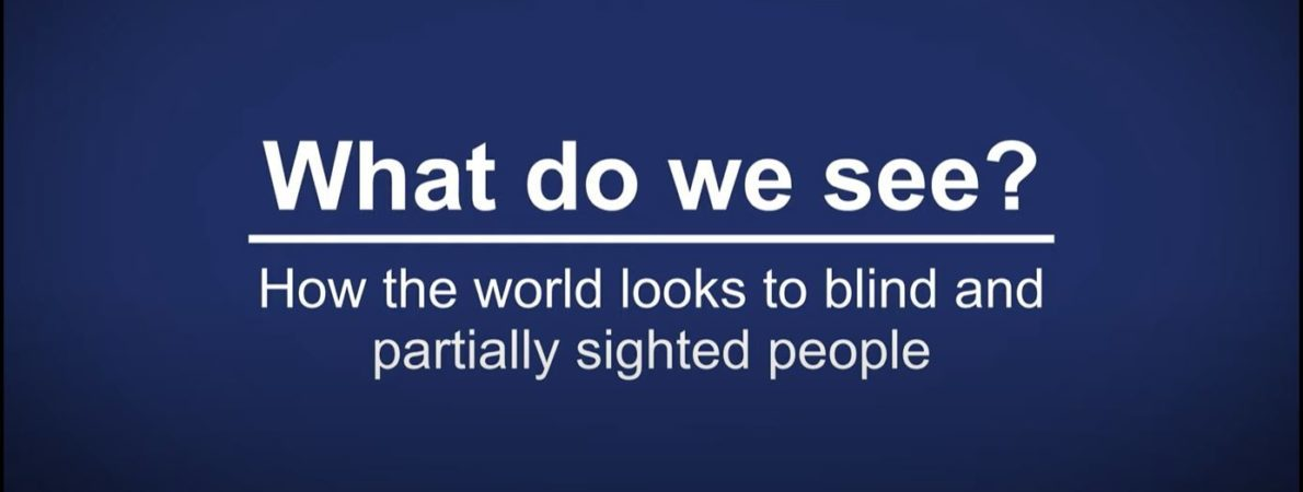 Title page of video reading: What do we see? How the world looks to blind and partially sighted people
