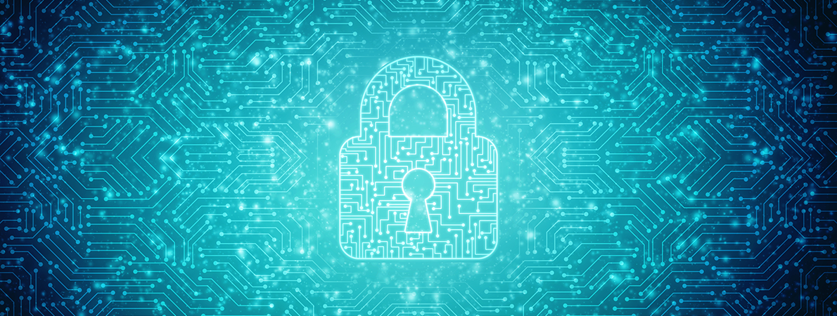 Dark blue background with a light blue padlock in the middle