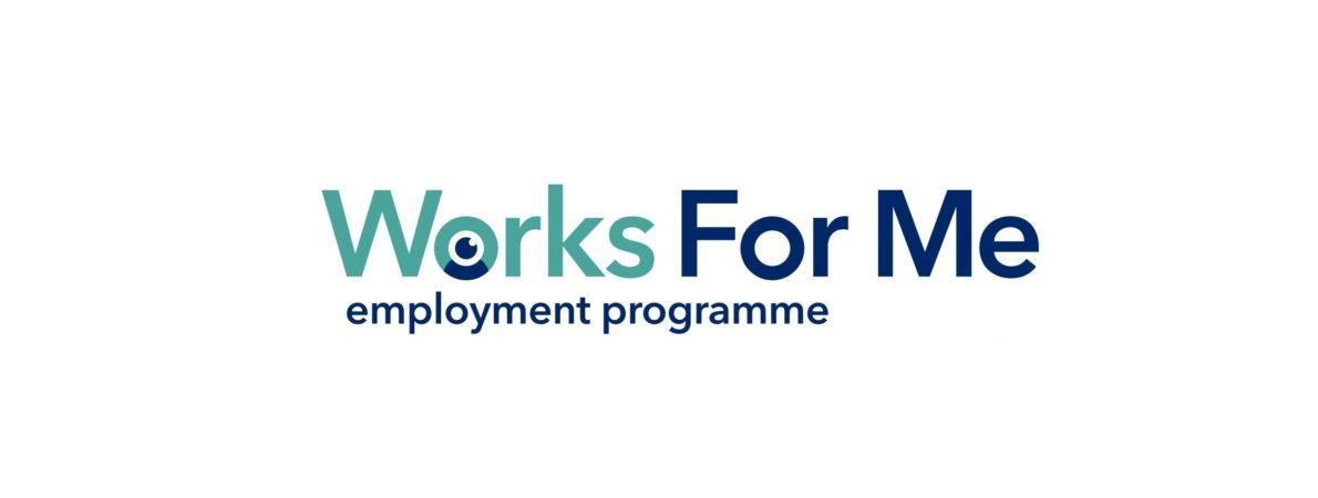 Works For Me employment programme logo. Works written in green, the rest in dark blue. A little graphic of a person and an eye looking up in the O of Works