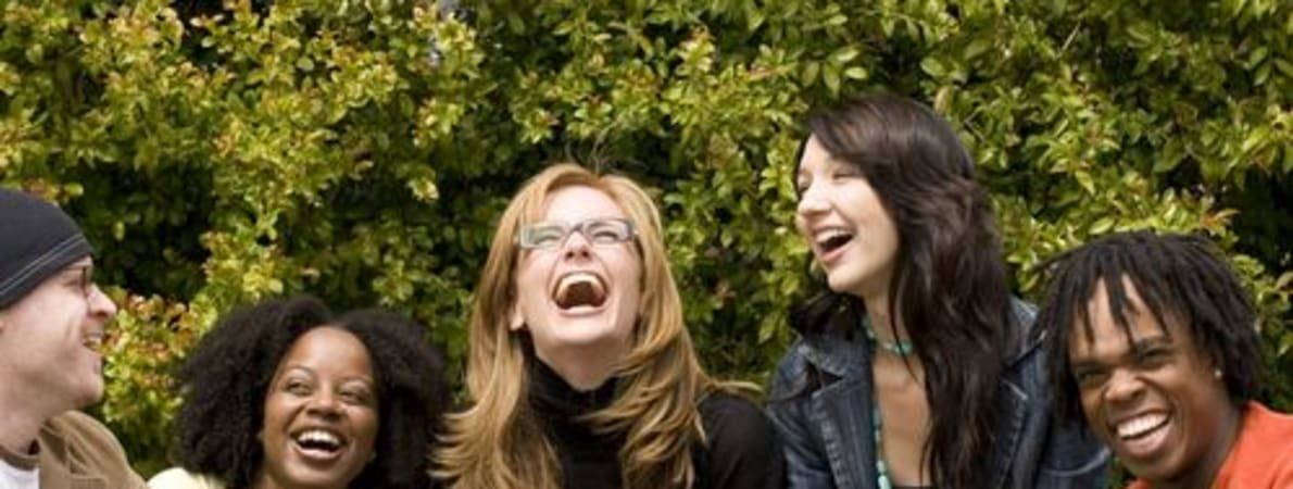 Photo of students laughing
