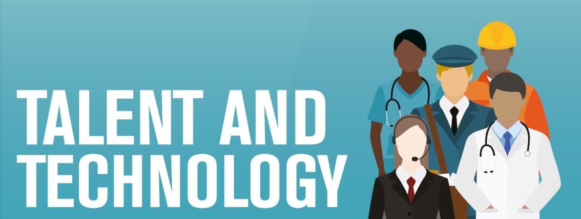 Talent and Technology report cover showing graphic of people in work attire