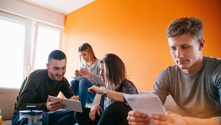 Friends studying together in university halls living room
