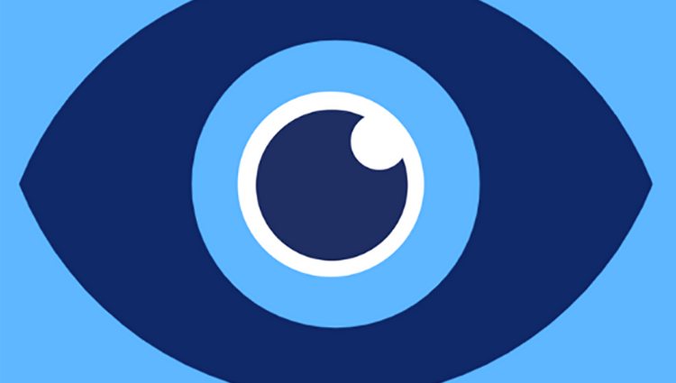 Logo with blue background and a dark blue eye in the middle. Underneath it reads Uni In Sight