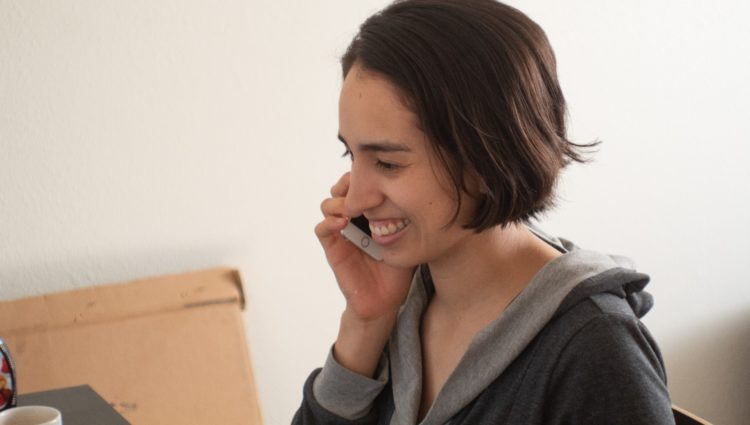 Close up of a woman talking on the phone