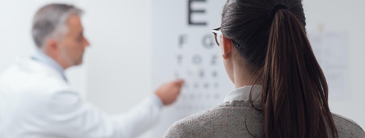 Woman at eye examination