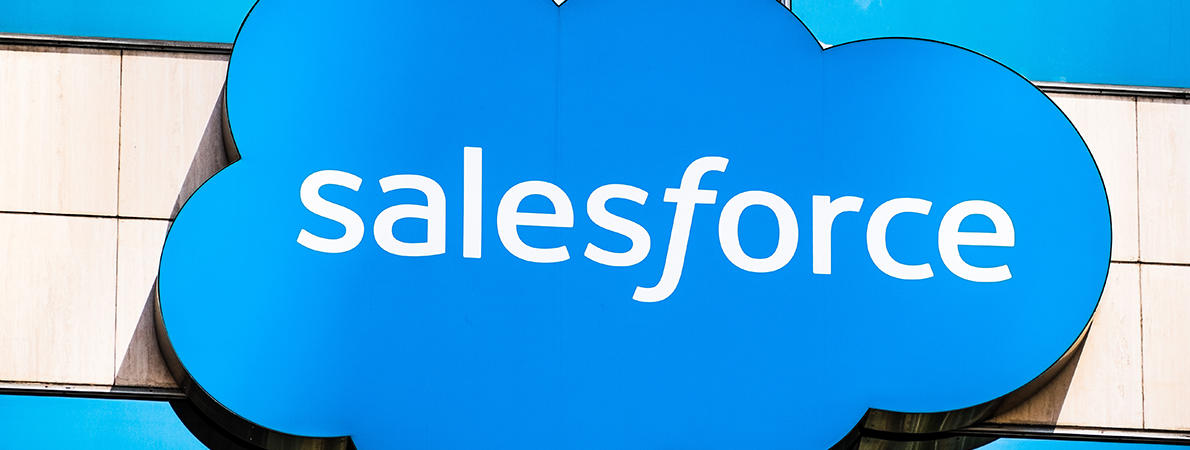 Salesforce sign on a glass building
